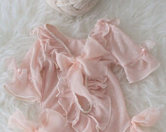 Lace Romper, Newborn Props,Pink Photography Props,Newborn Overalls, Photo Props, Long Sleeves Romper,Onesies,V-Cut, Vintage Style,Girl Props
