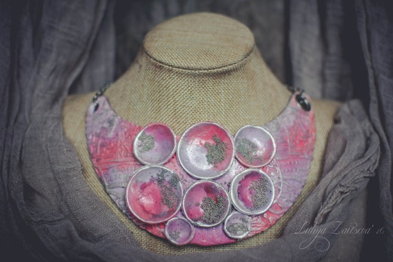 Statement necklace large Bib necklace pink silver necklace large necklace elegant necklace massive necklace polymer clay necklace