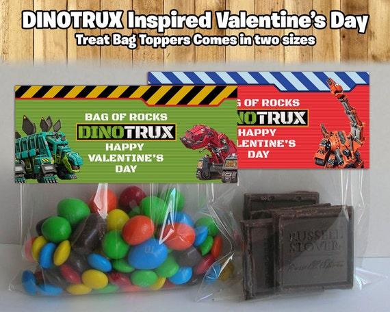 Dinotrux Inspired Valentine's Day Treat Bag Toppers Dinotrux Treat Bag Toppers Dinotrux Candy Bag Topper Dinotrux Valentine's Day Download
