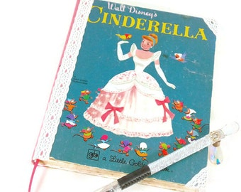 Cinderella Journal-Diary/Notebook/Sketchbook-Smash Book, blank pages, upcycled book, mice, children's book, polka dots, art book, draw, gift