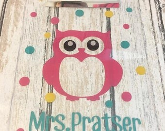 Teacher Gift - Owl Custom Teacher Gift - Grade School Teacher Gift