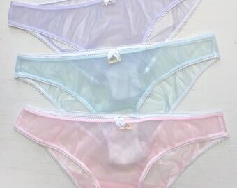 Sheer knickers- lilac purple lavender pink blue pastel princess nylon transparent panties, see-through frilly knicker panty undies underwear