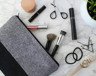 Black & Grey Makeup Bag, Bridesmaid Gift, Cosmetic Bag, Gray and Pink Zipper Pouch, Pencil Case, Black, Gray, Pink Travel Bag