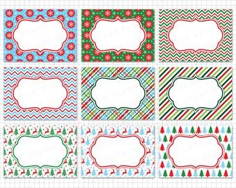 """Christmas Digital Frames: """"CHRISTMAS FRAME CLIPART"""" Christmas Labels Clipart, Frame Clipart, Christmas Tags, Christmas Season Clipart"""