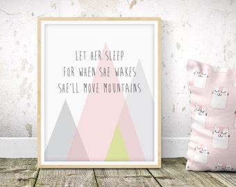 She'll Move Mountains - Nursery Print - Children's Wall Art - Baby Nursery Decor