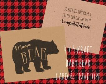 Mama Bear Card, Baby Shower Card, New Mom, Kraft Paper Card