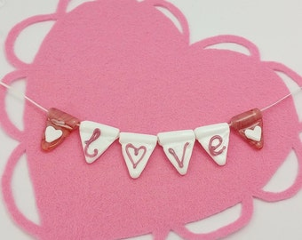 Love Bunting - Glass Bunting - Bunting Strings - Wedding Bunting - Personalised Bunting - Valentines Gift - Gifts for Her - Valentines Day