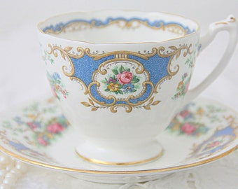 Vintage Coalport Bone China Cup and Saucer, Broadway Blue Pattern, England