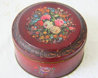Vintage Burgundy Red Round Tin with Flower Decor, Barringer Wallis and Manners