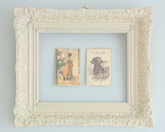 Vintage Ornate Wooden Open Frame, Painted White, Shabby Shic Wall Decor