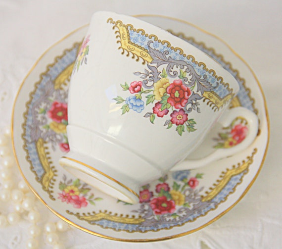 Vintage Royal Stafford 'Regency' Bone China Cup and Saucer, Flower Decor, Blue and Yellow Detail, England