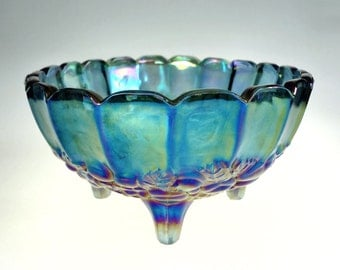 Indiana Glass Blue Carnival Oval Harvest Grape Footed Fruit Bowl