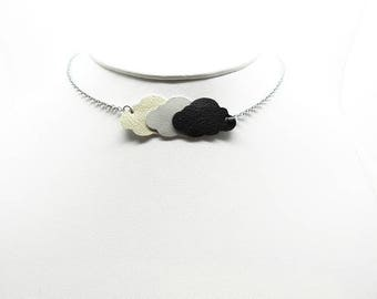 stainless steel necklace with clouds various leather models