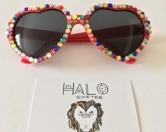 Heart embellished sunglasses, Colourful festival accessory.