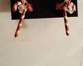 Handmade candy cane dangle earrings