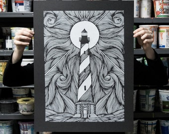 Lighthouse - 18x24 Silkscreen Art Print
