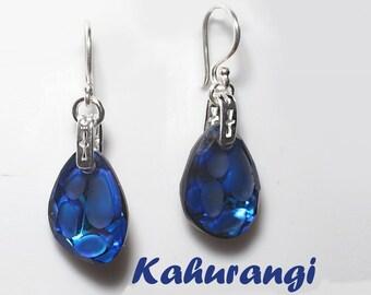 Bermuda blue earrings, navy blue earrings, cobalt blue Swarovski pendant earrings,925 Sterling silver,Swarovski crystal earrings, earrings