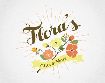 Floral Logo Design | Retro Logo | Flower Logo | Vintage Logo | Logo Design | Premade Logo | Logo | Business Logo