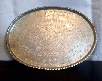 Silver metal oval tray