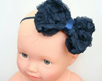 Navy Headband, Baby Girl Headband, Newborn Headband, Shabby, Bow Headband, Navy, Baby Girl, Newborn, Girl, Headband