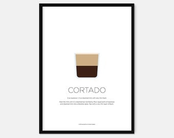 Cortado coffee print – Coffee art – Coffee gifts – Coffee lovers gifts – Espresso – Kitchen print – Kitchen art – Wall art – Gift