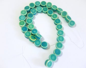 Ceramic Turquoise Coin Beads-6 mm-36 count