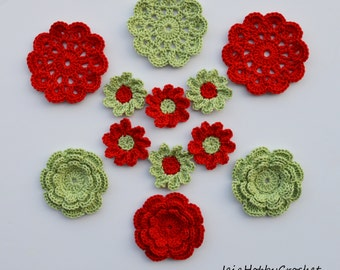 Crochet Flowers, Crochet Appliques, Crochet Flower, Crochet Embellishments set of 12