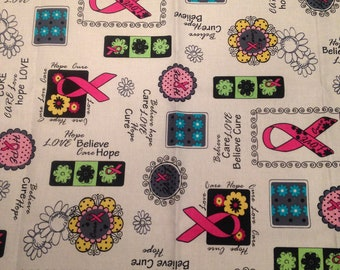 Breast Cancer/cancer awareness/cotton fabric/cotton by metre/  fabric FQS/1/2 Metre/ fabric by metre/quilting fabric/pink ribbon/hope/