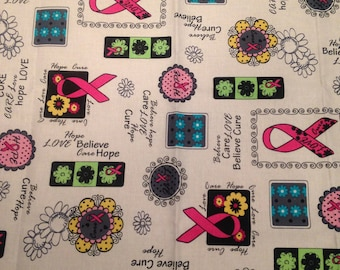 Breast Cancer Awareness Fabric FQ -1/2 Metre -Metre Sewing Quilting Pink Ribbon