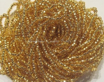 1 Hank Size 11/0 SILVER LINED GOLD Preciosa Czech Glass Seed Beads - Approx. 3905 beads