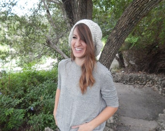Simple Slouch Beanie- Crochet slouch adult hat