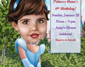 Girl's birthday custom cartoon invitation card drawn from photo
