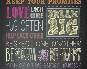 FAMILY RULES 4x6 12 mil Typographic MAGNET, inspirational, self esteem, quote art. (R&R0042MAG)