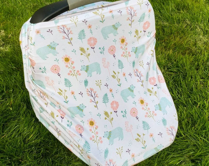 Car Seat Cover/Nursing Cover by Solchan || Stretchy Carseat Cover, girl girls bear garden