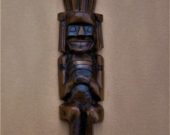 Totem Pole Vintage Statue Hand Carved 19'' By 5'' Rare Collectable Art