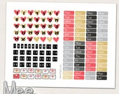 Date cover planner stickers,Red hearts date cover ups,Printable planner sticker,Valentines stickers,mini stickers,ECLP,Happy planner,Filofax