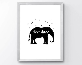 Modern Black and White Elephant Nursery Print - Modern Nursery Decor - Black and White Nursery - Minimal Modern Nursery Decor