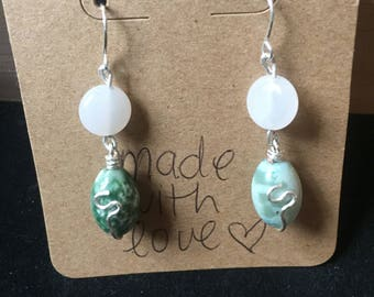 White and Green Wire Wrapped Earrings