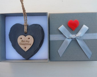 Be my Valentine Slate & Maple Wood Engraved Heart with Gift Box