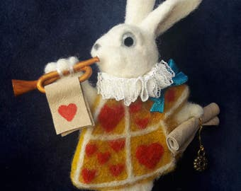 Brooch White Rabbit - Alice in the Wonderland - Needle felted adornment - Party accessory - John Tenniel