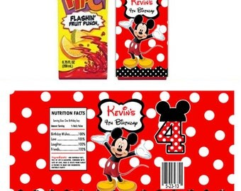 Printable Mickey Mouse personalized Juice box wrapper labels