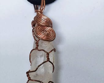 Copper Wire Wrapped Crystal Quartz Point