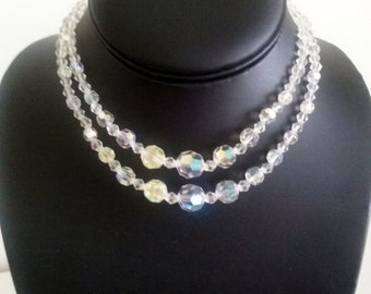 Vintage 2 Strand Faceted AB Glass Crystal Choker Type Necklace//Glass Crystal Necklace//Crystal Choker