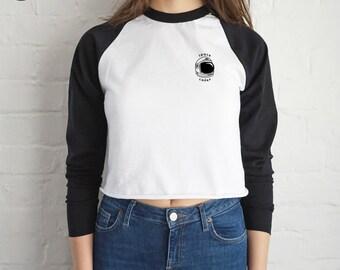 Space Cadet Crop Raglan Top Shirt Tee T-shirt Fashion Grunge Alien Head UFO