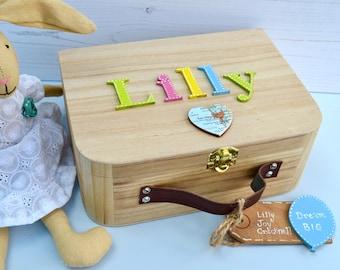 Personalized Wooden Kids Memory Box California Keepsake Box Children's suitcase style Memory Box Birthday Gift Personalised Memory Box