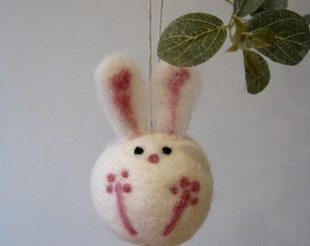 Bunny Ornament, Easter Rabbit, Felted Bunny, White Bunny, Brown Bunny, Chocolate Bunny, Rabbit Ornament, Bunny Decor, Felted Rabbit