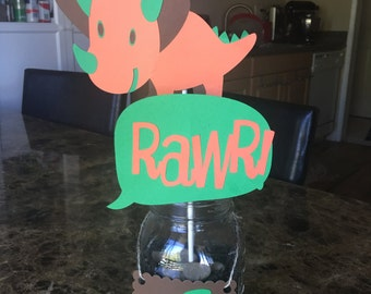 Cute Dinosaur Cutouts, kids party,Dinosaur theme party,Handmade,Cutouts for centerpiece, Party decor, orange and green and brown colors