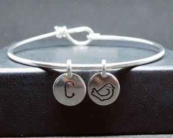 Bird silver plated bangle bracelet with initial,bird bracelet,bird gift
