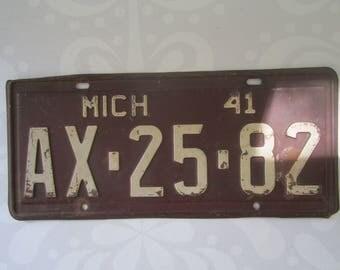 Vintage 1941 Michigan License Plate AX-25-82
