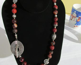 """Handmade Lovely Natural Agate Beaded Necklace 20"""""""